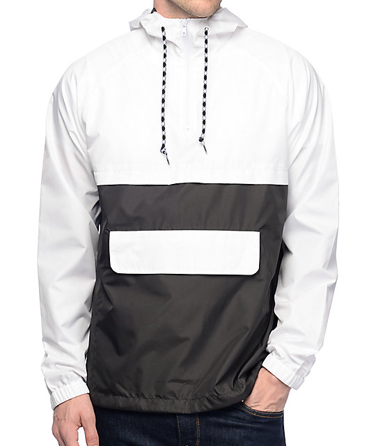 Zine Unlimited White & Black Anorak Windbreaker Jacket at Zumiez : PDP