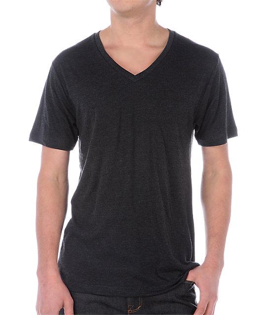 Zine V-Neck Heather Black T-Shirt