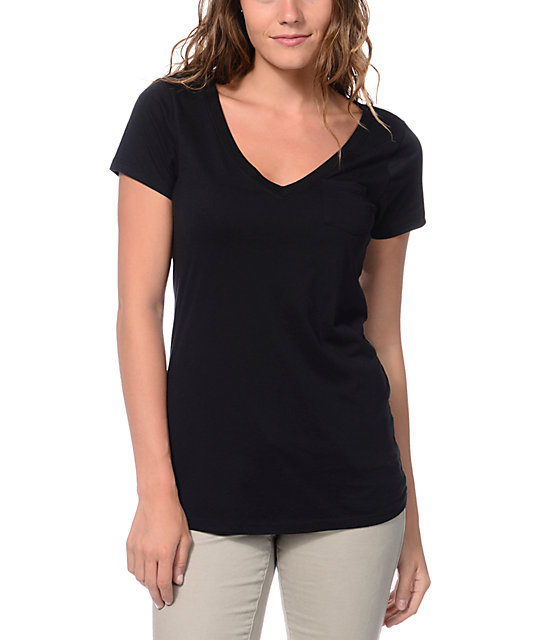 Zine V-Neck Pocket Black T-Shirt