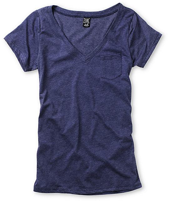 Zine V-Neck Pocket Medievil Heather Blue T-Shirt