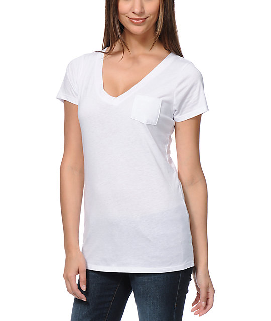 Zine V-Neck Pocket White T-Shirt