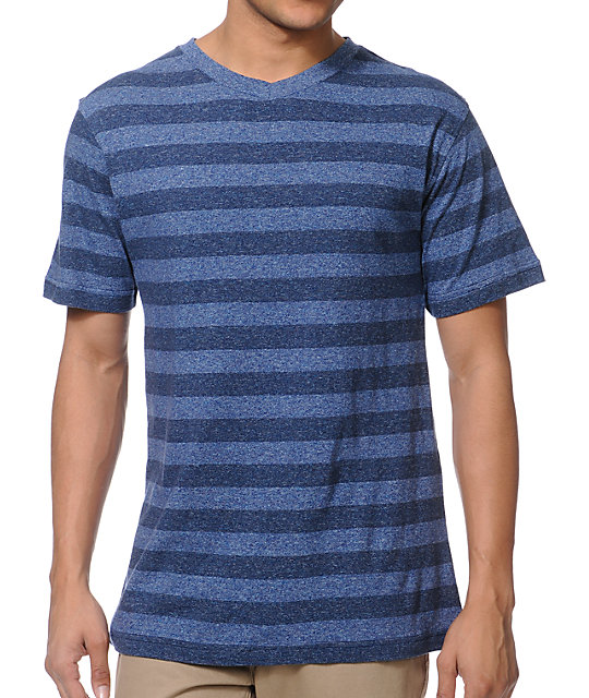 Zine Visual Navy Stripe V-Neck T-Shirt