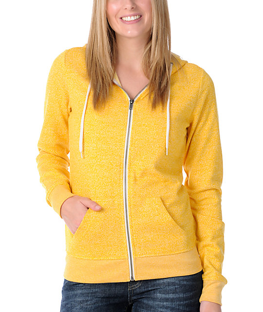 Zine Yellow Salt & Pepper Zip Up Hoodie