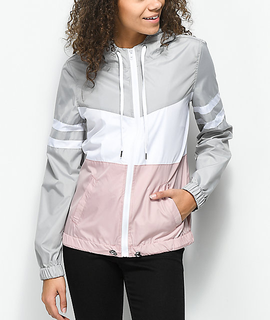 zine-zuri-mauve,-grey-&-white-color-blocked-windbreaker-jacket by zine