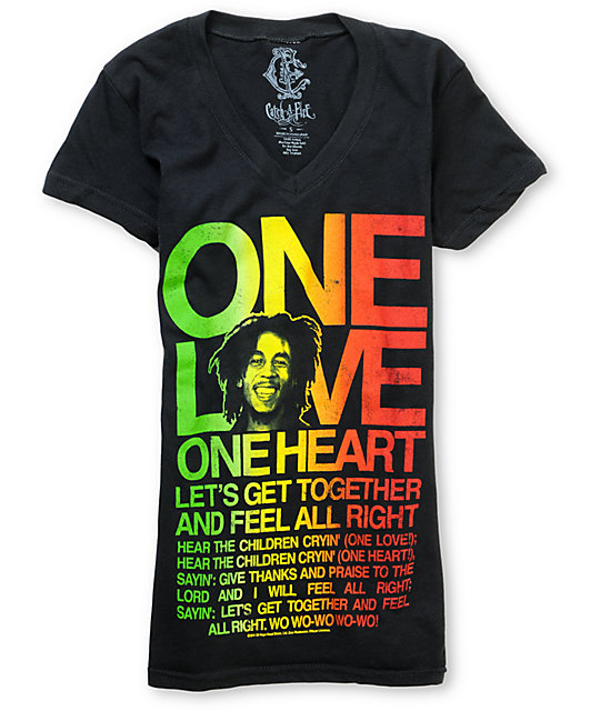 Zion Rootswear Catch A Fire One Love Rasta V-Neck T-Shirt