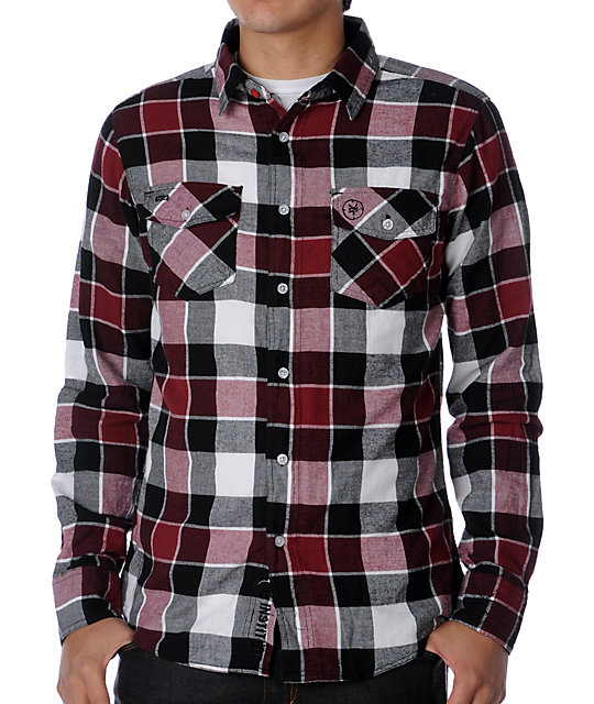 Zoo york harbor white red flannel shirt for Red black and white flannel shirt