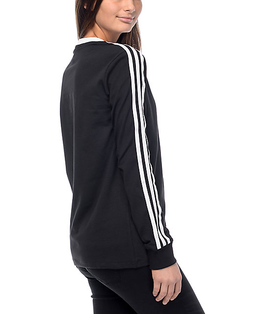 new style 67dee 88fce adidas 3 stripe black long sleeve