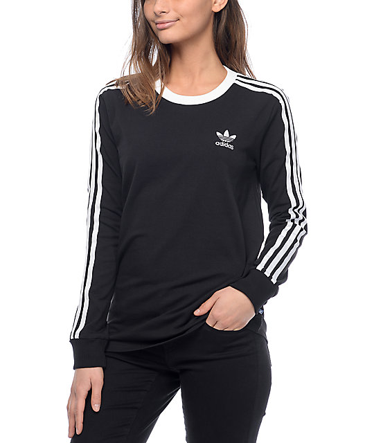 adidas 3 Stripe Black Long Sleeve T-Shirt | Zumiez