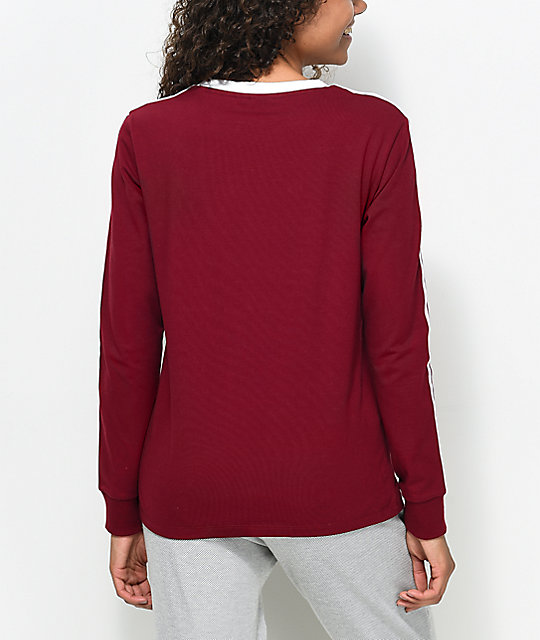 adidas 3-Stripe Burgundy Long Sleeve T-Shirt