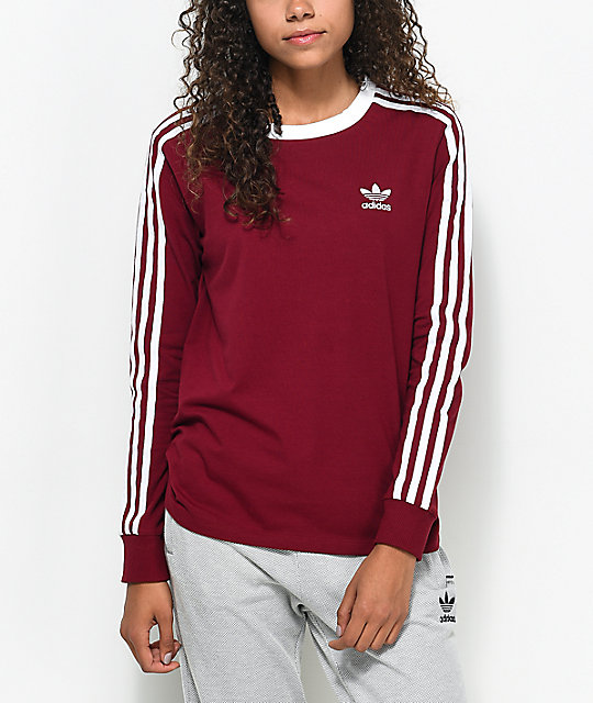 3-Stripe Burgundy Long Sleeve T-Shirt