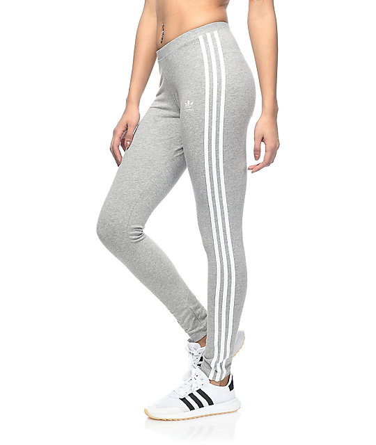 adidas leggings. adidas 3 stripe medium grey leggings t