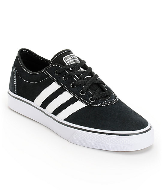 adidas Adi Ease Black & White Suede Skate Shoes