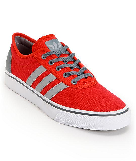 adidas Adi Ease Light Scarlet, Aluminum, & Running White Skate Shoes