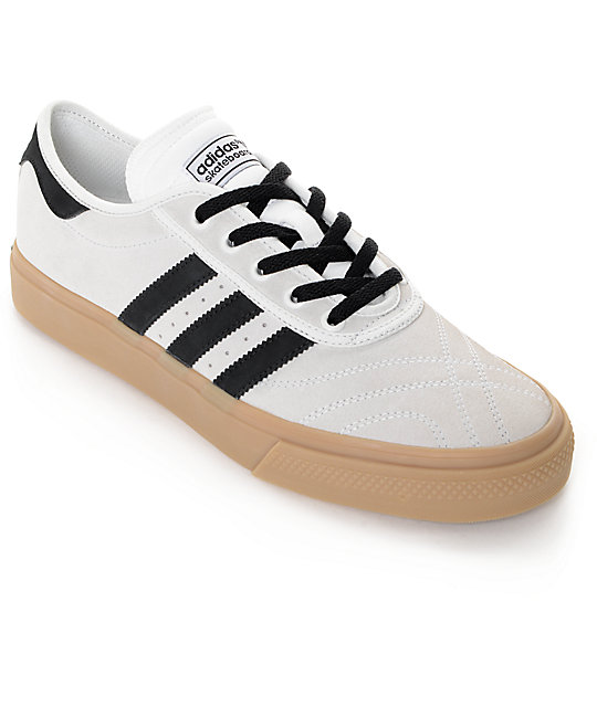 adidas adiease premiere white black gum shoes at