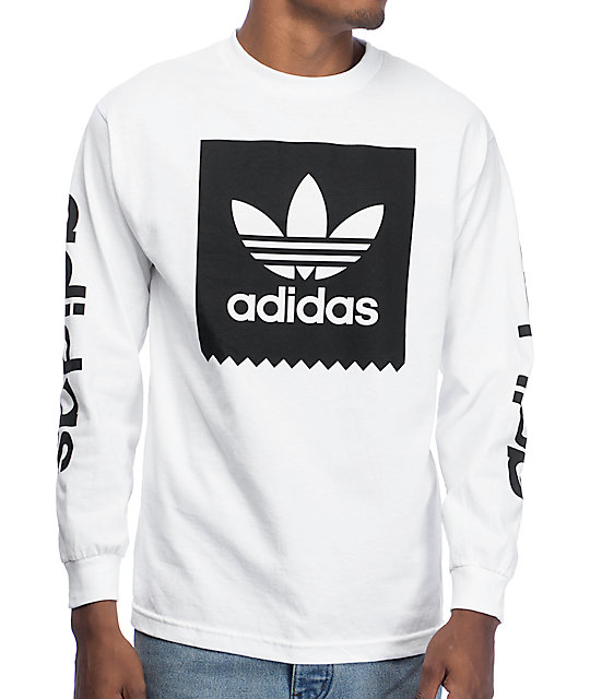 Adidas blackbird white long sleeve t shirt for Mens long sleeve white t shirt