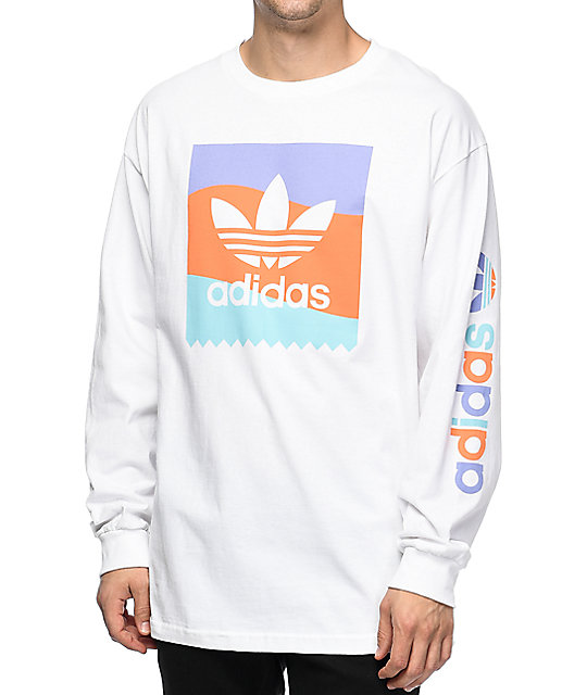 adidas Blackbird White Long Sleeve T-Shirt | Zumiez