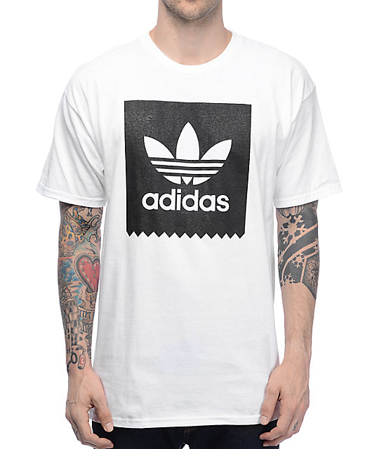 Adidas blackbird white t shirt zumiez for Adidas lotus t shirt