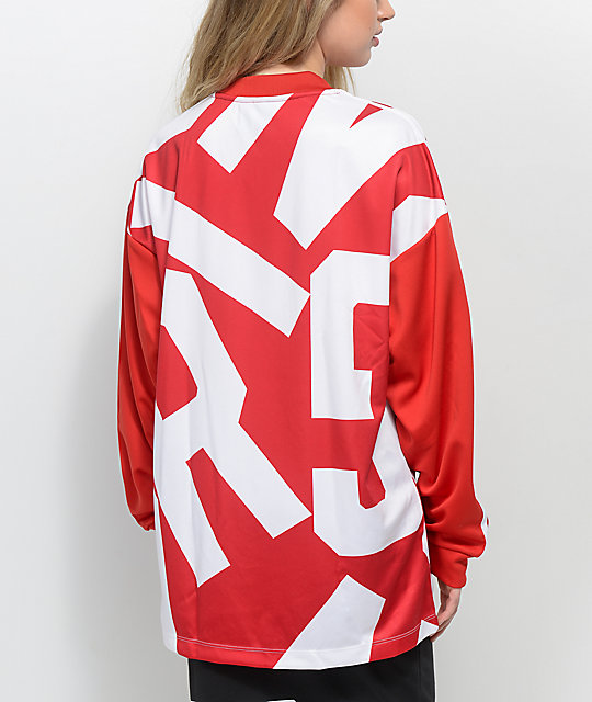 adidas Bold Age Red & White Long Sleeve Track Shirt