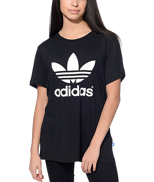 adidas boyfriend trefoil black t shirt. Black Bedroom Furniture Sets. Home Design Ideas