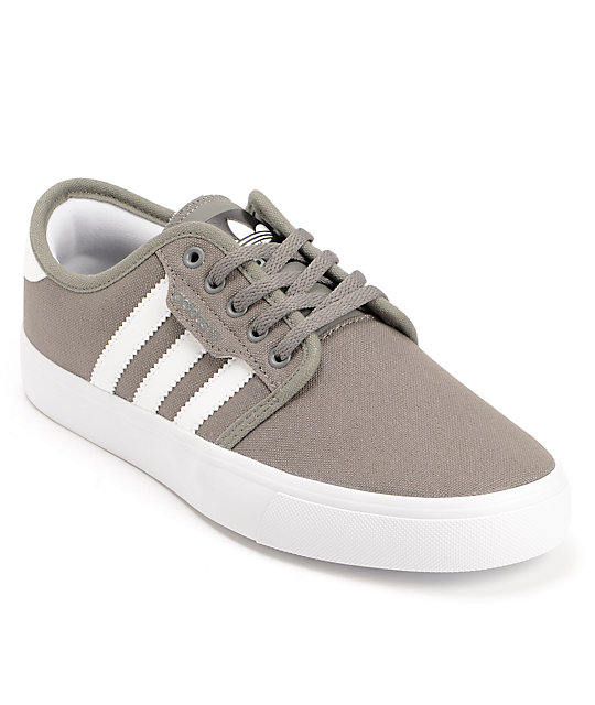adidas Boys Seeley Mid Cinder & White Skate Shoes