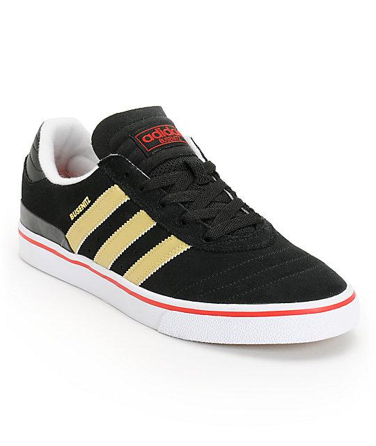 adidas Busenitz Vulc Black, Gold, & Scarlet Suede Skate Shoes