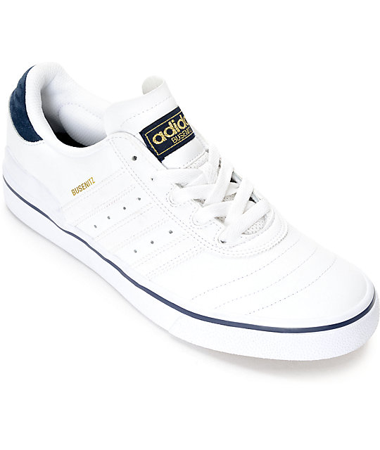 adidas Busenitz Vulc White & Navy Leather Shoes