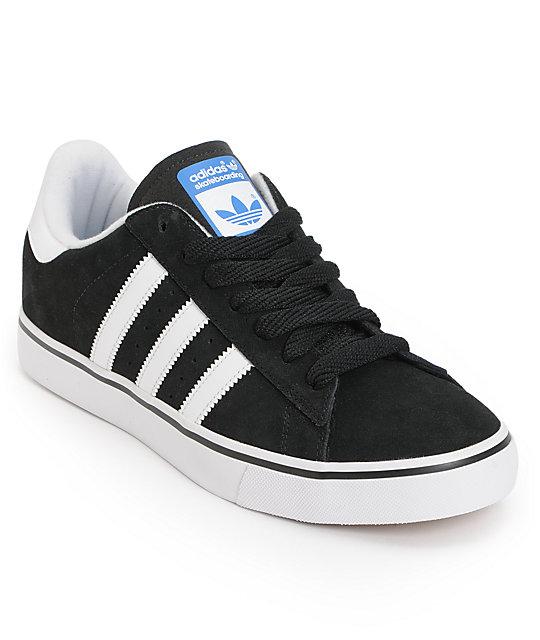 adidas Campus Vulc Black, Running White, & Bluebird Skate Shoes