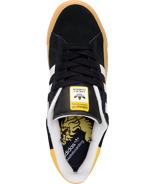adidas Campus Vulc Black, White & Sun Suede Shoes