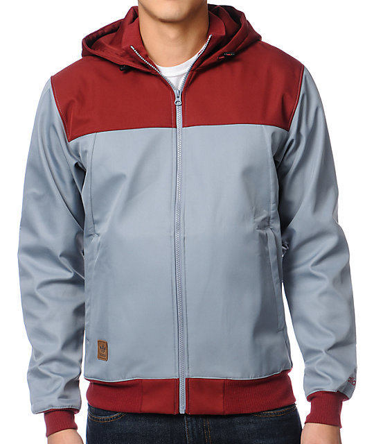 adidas Hib Grey & Burgundy Softshell Snow Jacket