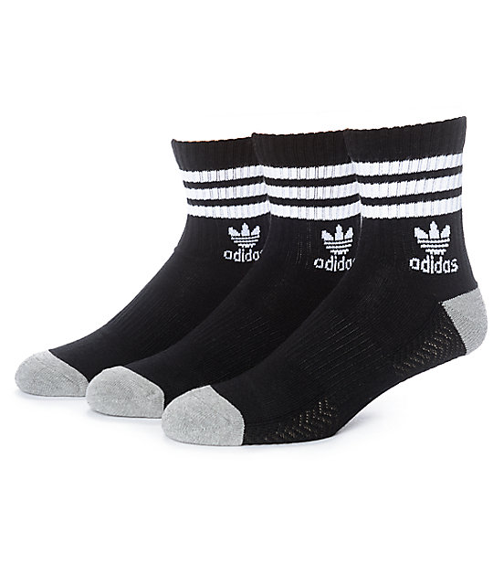 adidas quarter socks. adidas high roller black \u0026 white 3 pack quarter socks