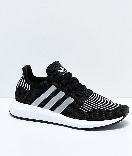 Adidas Kids Swift Run Core Black &Amp; Silver Shoes by Adidas