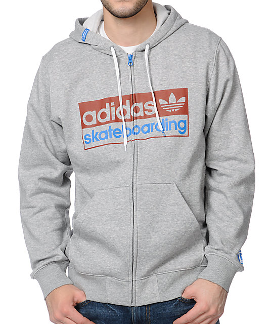 adidas Logo Heather Grey Zip Up Hoodie