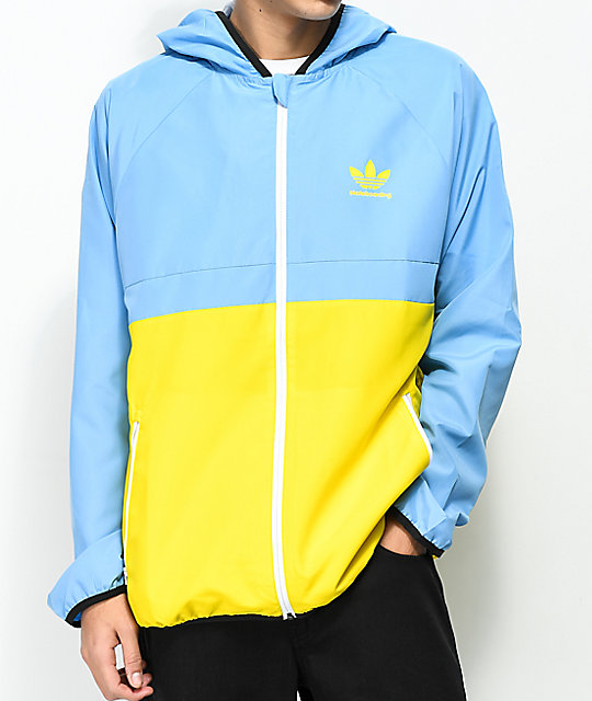 adidas MI Skate Blue & Yellow Windbreaker Jacket | Zumiez