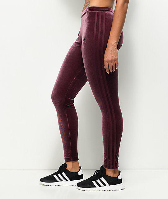 Adidas Maroon Velvet Leggings | Zumiez