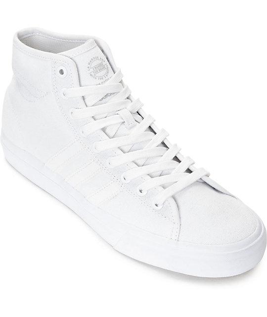 adidas matchcourt hi rx mono white canvas shoes at zumiez