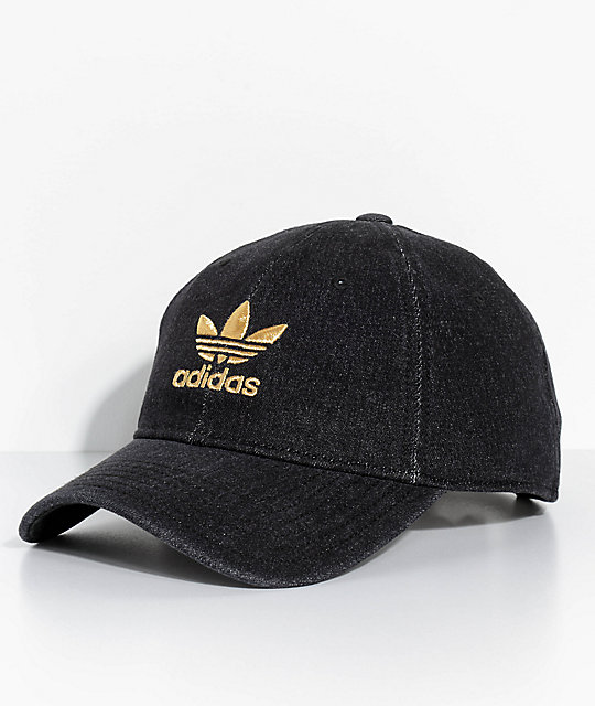 adidas men. adidas men\u0027s trefoil black denim strapback hat men