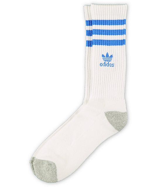adidas Originals White & Blue Crew Socks