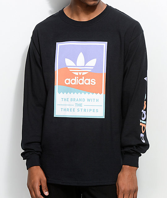 Adidas pastel classic black long sleeve t shirt zumiez for Adidas classic t shirt
