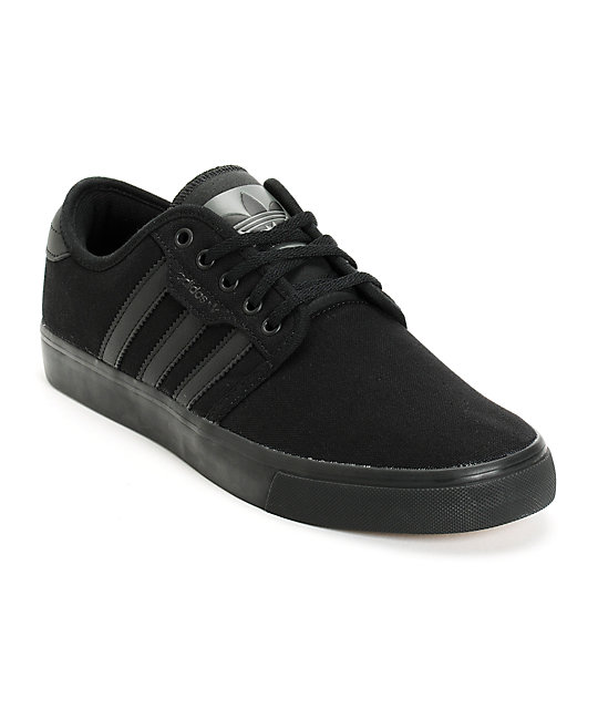 adidas seeley all black canvas skate shoes at zumiez pdp