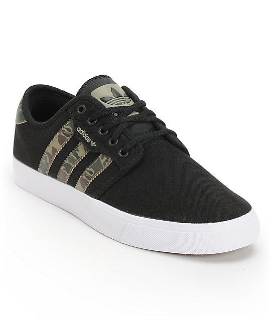 adidas Seeley Black & Camo Canvas Skate Shoes