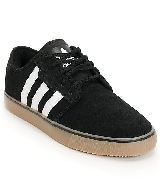 adidas Seeley Black & Gum Suede Skate Shoes