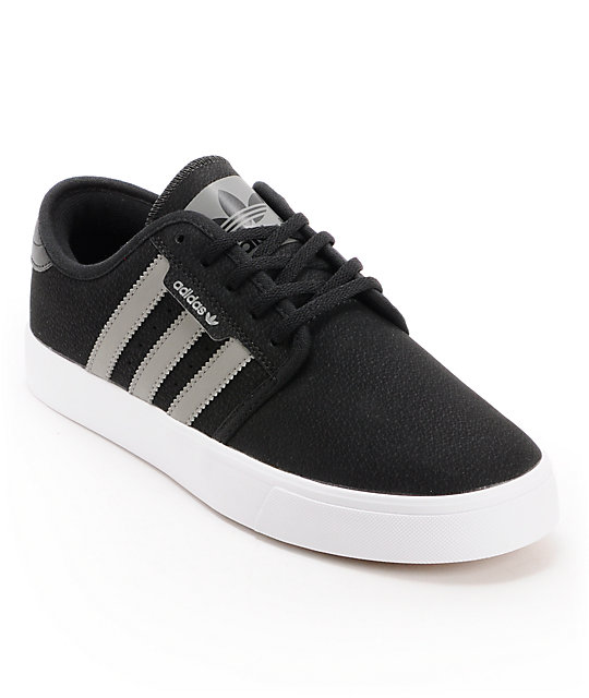 adidas Seeley Grey, Black, & White Skate Shoes
