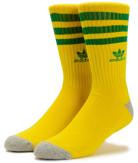 adidas Skate Copa Roller Sun Yellow & Fairway Green Crew Socks