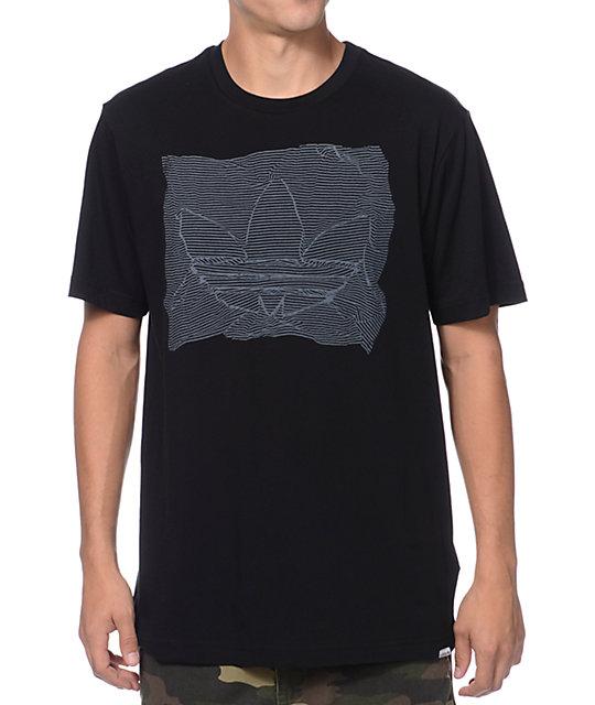 adidas Striped Black & Grey T-Shirt