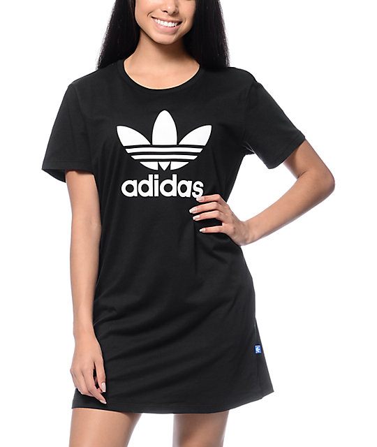 Adidas Trefoil Black T-Shirt Dress at Zumiez  PDP