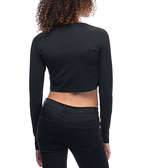 Adidas trefoil crop fitted long sleeve black t shirt zumiez for Black fitted long sleeve t shirts