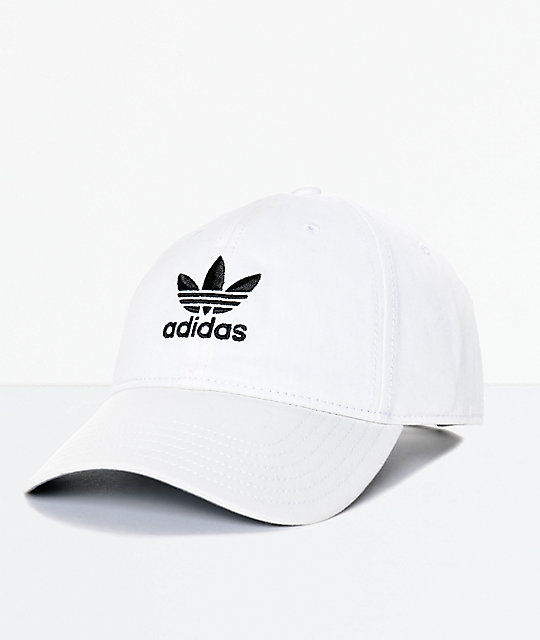 Adidas Trefoil Curved Bill White Strapback Hat on Color By Number For Boys