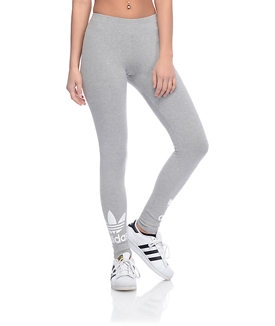 adidas leggings. adidas trefoil heather grey leggings g