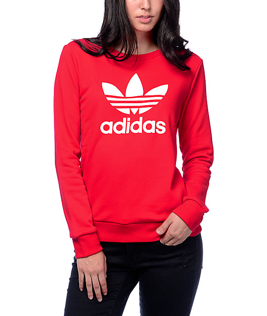 adidas Trefoil Red Crew Neck Sweatshirt at Zumiez : PDP