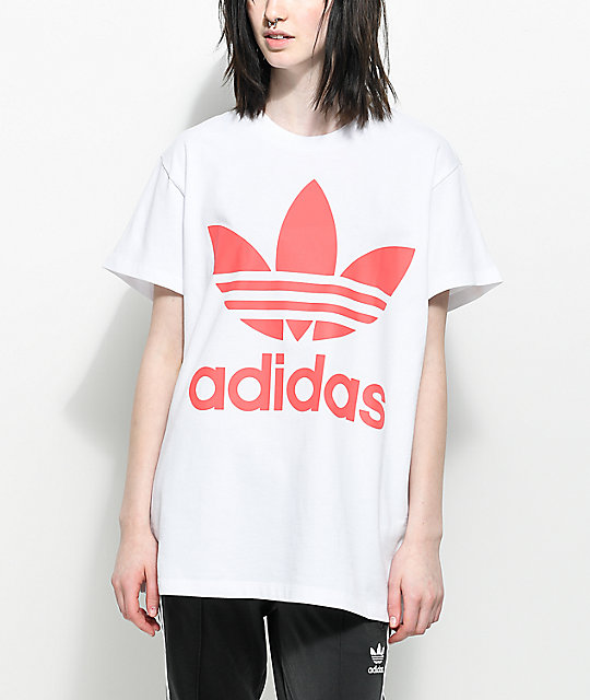 Trefoil White & Hot Pink Oversized T-Shirt